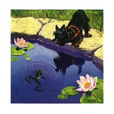 """Scottie and Frog,""August 1, 1935 Giclee Print by Nelson Grofe"