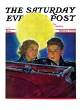 """Moonlit Car Ride,"" Saturday Evening Post Cover, January 7, 1933 Giclee Print by Eugene Iverd"