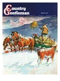 """Feeding Herd in Winter,"" Country Gentleman Cover, March 1, 1945 Giclee Print by Matt Clark"