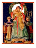 """""""Victorian Family at Christmas,""""December 29, 1934 Giclee Print by J.C. Leyendecker"""