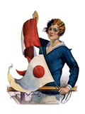 """Woman and Signal Flags,""August 21, 1926 Giclee Print by Charles A. MacLellan"
