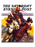"""Speeding Stagecoach,"" Saturday Evening Post Cover, February 6, 1937 Giclee Print by Maurice Bower"