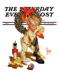 """Christmas Stocking Joy,"" Saturday Evening Post Cover, December 24, 1938 Giclee Print by Joseph Christian Leyendecker"