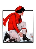 """Lacing Her Skates,""January 10, 1925 Giclee Print by Remington Schuyler"