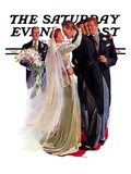 """Kissing the Best Man,"" Saturday Evening Post Cover, June 5, 1937 Giclee Print by Albert W. Hampson"
