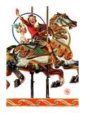 """""""Carousel Ride,""""September 6, 1930 Giclee Print by Joseph Christian Leyendecker"""