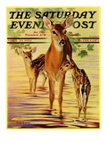 """Doe and Fawns,"" Saturday Evening Post Cover, April 29, 1933 Giclee Print by Jack Murray"