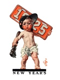 """Industrial New Years Baby with License Plate,""January 3, 1925 Giclee Print by Joseph Christian Leyendecker"