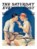 """Tennis Couple,"" Saturday Evening Post Cover, June 21, 1930 Giclee Print by James C. McKell"
