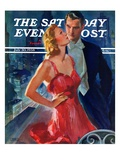 &quot;Formal Couple on Balcony,&quot; Saturday Evening Post Cover, July 30, 1938 Giclee Print by John LaGatta