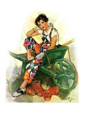 """Woman in Wheelbarrow,""June 20, 1931 Giclee Print by Ellen Pyle"