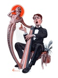 """Offkey Harpist,""April 4, 1925 Giclee Print by Elbert Mcgran Jackson"