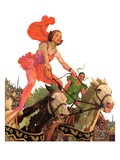 """Circus Bareback Riders,""April 6, 1935 Giclee Print by Maurice Bower"