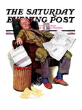 """Tax Deadline,"" Saturday Evening Post Cover, March 19, 1938 Giclee Print by John Newton Howitt"