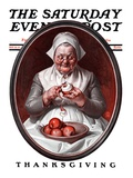 """Peeling Apples,"" Saturday Evening Post Cover, November 28, 1925 Giclee Print by Joseph Christian Leyendecker"