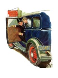 """Flat Tire, Flat Evening,""November 24, 1934 Giclee Print by Ellen Pyle"