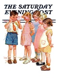 """Making Faces,"" Saturday Evening Post Cover, July 10, 1937 Giclee Print by Frances Tipton Hunter"