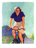 """Woman on a Bike,""April 28, 1934 Giclee Print by John Newton Howitt"