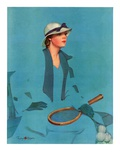 """Tennis in Blue,""June 16, 1934 Giclee Print by Penrhyn Stanlaws"