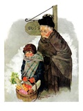 """Waiting for the Bus,""December 13, 1930 Giclee Print by Ellen Pyle"