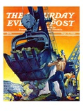 """Steam Shovel,"" Saturday Evening Post Cover, September 17, 1938 Giclee Print by Ski Weld"