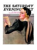 """Woman at the Theater,"" Saturday Evening Post Cover, April 13, 1935 Giclee Print by Bradshaw Crandall"