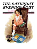 """Toddler in Rocker,"" Saturday Evening Post Cover, November 12, 1932 Giclee Print by Ellen Pyle"