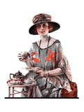 """Teatime,""July 7, 1923 Giclee Print by Pearl L. Hill"