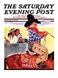 """Modern Indians and Dude,"" Saturday Evening Post Cover, August 14, 1937 Giclee Print by William Bailey"