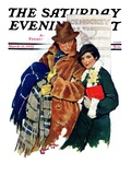 """Date at Hockey Game,"" Saturday Evening Post Cover, March 12, 1932 Giclee Print by Ellen Pyle"