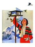 """Feeding the Birds,""February 1, 1936 Giclee Print by Jack Murray"