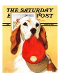 """Hunting Dog and Cap,"" Saturday Evening Post Cover, October 29, 1938 Giclee Print by Jack Murray"