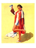 """Woman in Beach Outfit,""August 11, 1934 Giclee Print by Charles A. MacLellan"