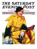 """Football Fan,"" Saturday Evening Post Cover, November 5, 1932 Giclee Print by Tempest Inman"