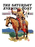 """Indian Chief on Horseback,"" Saturday Evening Post Cover, August 22, 1936 Giclee Print by Charles Hargens"