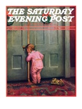 """Christmas Peek,"" Saturday Evening Post Cover, December 22, 1934 Giclee Print by Mary Ellen Sigsbee"