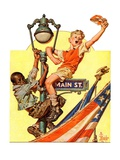 """""""Parade View from Lamp Post,""""July 3, 1937 Giclee Print by Joseph Christian Leyendecker"""