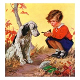 """Girl, Dog and Injured Bird,""November 1, 1935 Giclee Print by Henry Hintermeister"