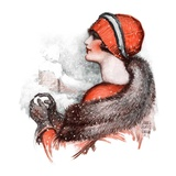 """Woman and Snowball,""January 17, 1925 Giclee Print by James Calvert Smith"