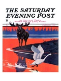 """Moose and White Goose,"" Saturday Evening Post Cover, March 23, 1935 Giclee Print by Jacob Bates Abbott"