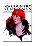 """Woman in Fur and Red Hat,"" Country Gentleman Cover, October 13, 1923 Giclee Print by WM. Hoople"