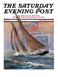 """Yacht and Steamship,"" Saturday Evening Post Cover, January 23, 1932 Giclee Print by Anton Otto Fischer"
