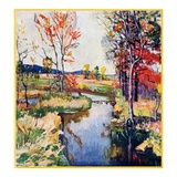"""Stream in Autumn,""October 1, 1933 Giclee Print by Walter Baum"