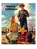 """Farming Family,"" Country Gentleman Cover, April 1, 1943 Giclee Print by George Rapp"