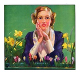 """""""Woman and Spring Flower,""""April 1, 1934 Giclee Print"""