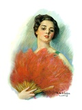 """Red Feathered Fan,""February 28, 1931 Giclee Print by William Haskell Coffin"