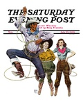 """Lasso Tricks,"" Saturday Evening Post Cover, July 29, 1939 Giclee Print by Floyd Davis"