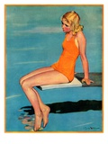 """Sitting on the Diving Board,""August 19, 1933 Giclee Print by Penrhyn Stanlaws"