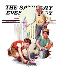 """""""Cleaning Up Graffiti,"""" Saturday Evening Post Cover, September 24, 1938 Giclee Print by Frances Tipton Hunter"""