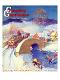 """Winter in the Village,"" Country Gentleman Cover, January 1, 1944 Giclee Print by Henry Soulen"
